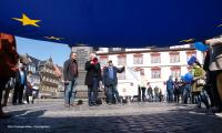Landesbischof Heinrich Bedford-Strohm bei einer »Pulse of Europe«-Demonstration am 26.3.2017 auf dem Marktplatz in Coburg.