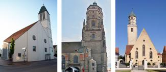 Die Christuskirche in Donauwörth (li.), St. Georg in Nördlingen (Mitte) und St. Jakob in Oettingen (re.).