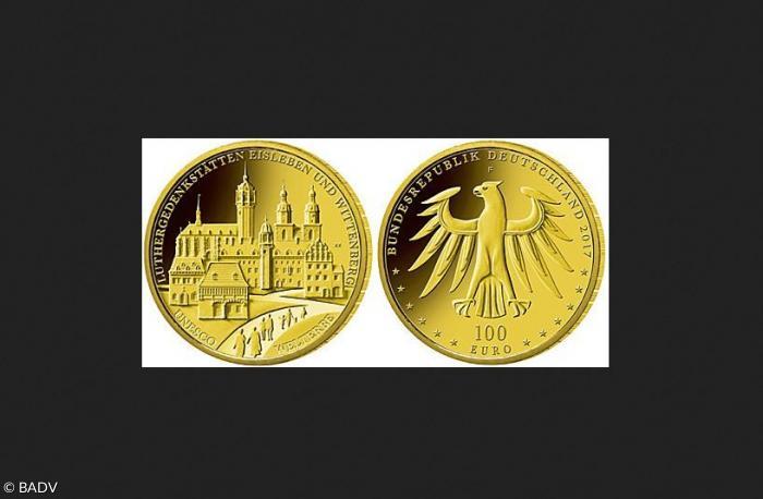 100 Euro Goldmünze Mit Schlosskirche Wittenbergs Sonntagsblatt